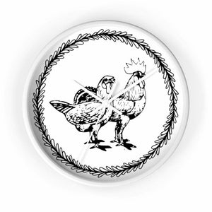 Horloge couple poule et coq - 10 in / White / Art & Wall