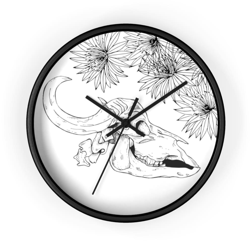 Horloge crâne vache fleuri - 10 in / Black / Art & Wall