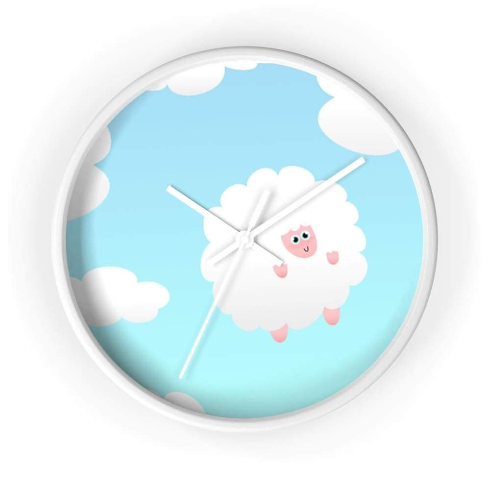 Horloge mouton dans les nuages - 10 in / White / Art & Wall
