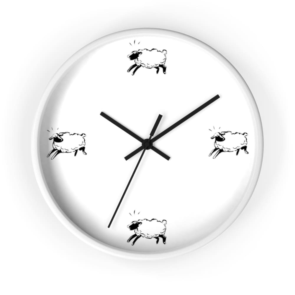 Horloge moutons - 10 in / White / Black - Art & Wall Decor -