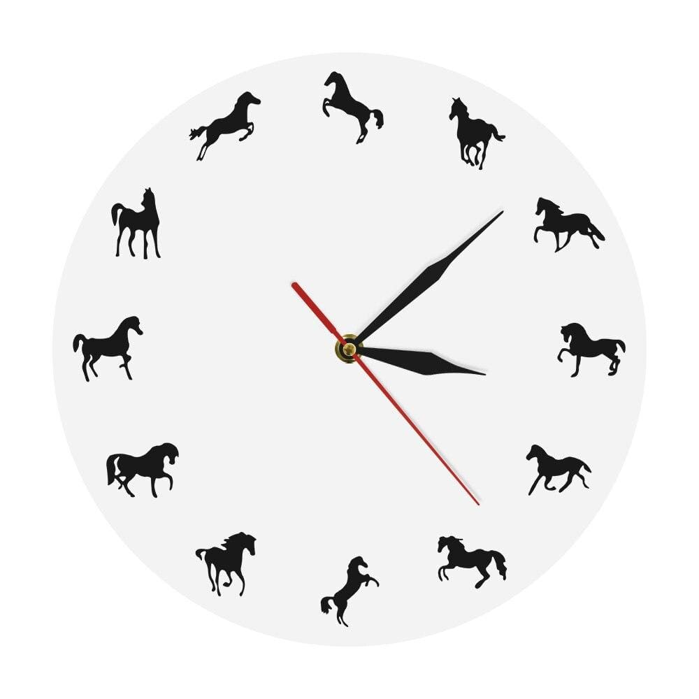 Horloge simple blanche cheval