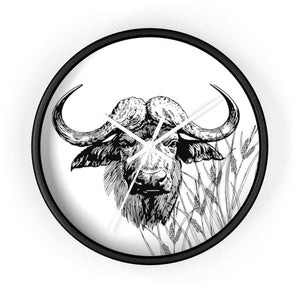 Horloge taureau africain - 10 in / Black / White - Art &