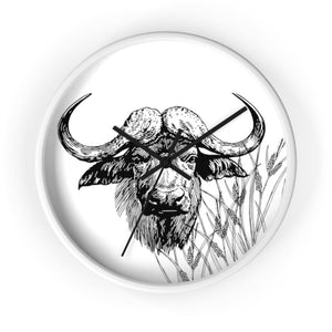 Horloge taureau africain - 10 in / White / Black - Art &