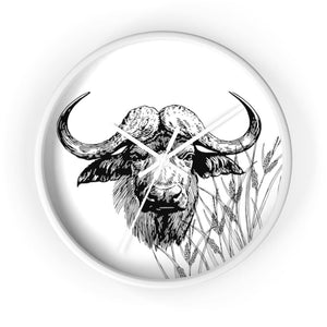 Horloge taureau africain - 10 in / White / Art & Wall Decor
