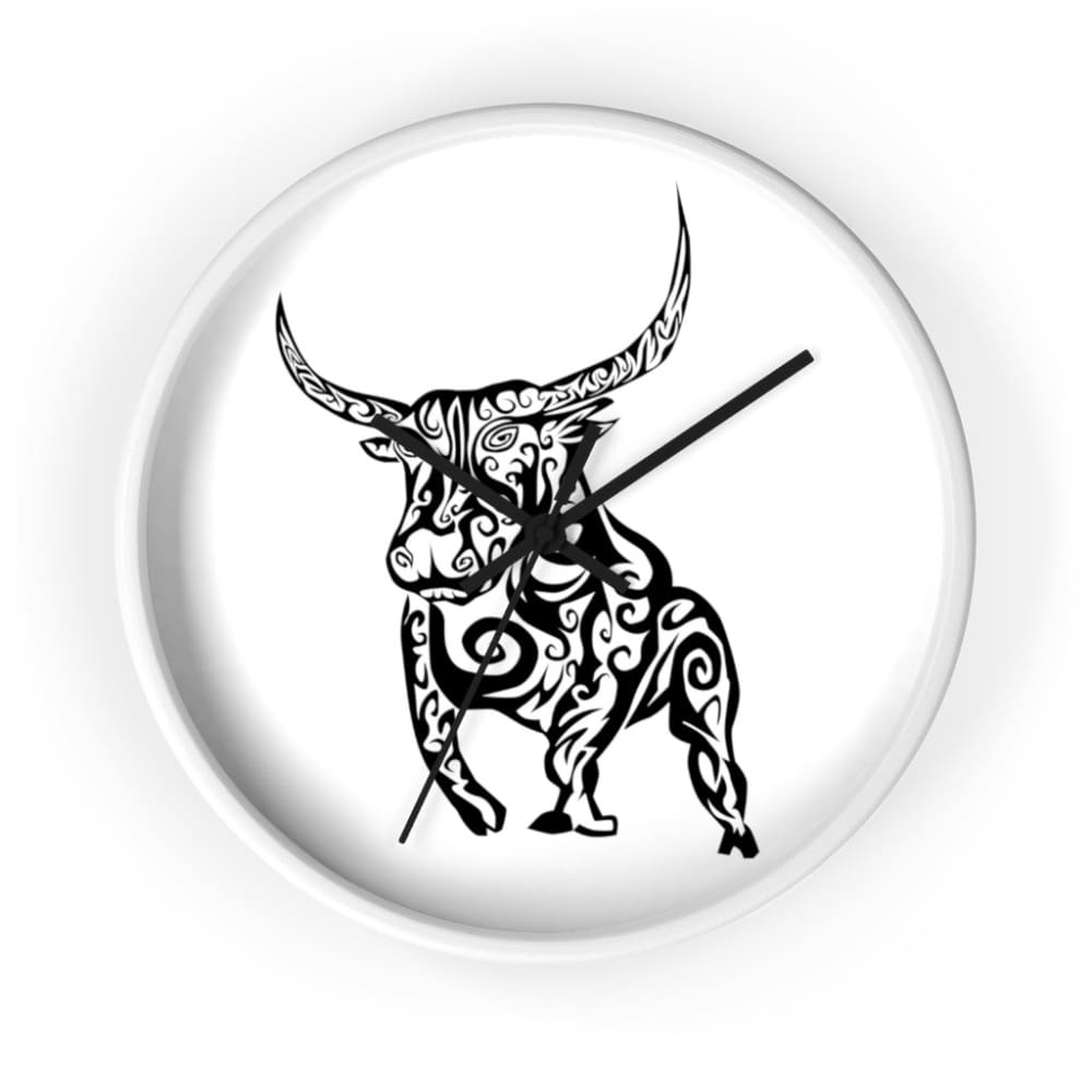 Horloge taureau féroce - 10 in / White / Black - Art & Wall