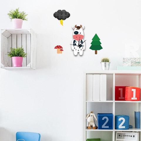 Horloge vache cartoon debout - BLANC