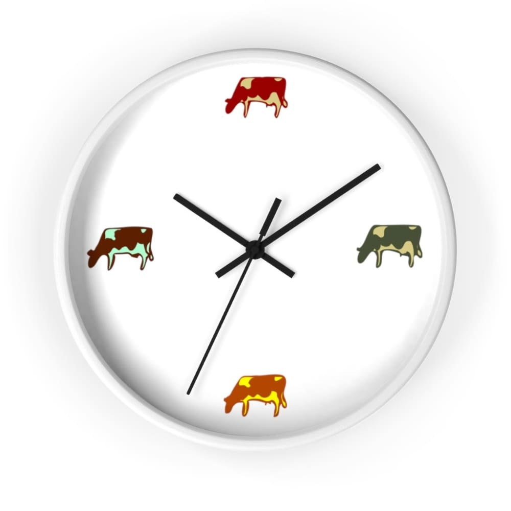 Horloge vaches colorées - 10 in / White / Black - Art & Wall