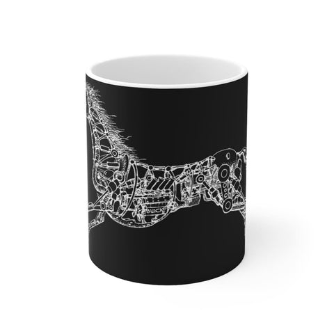 Mug noir cheval mécanique - 11oz - 11 oz - Home & Living -