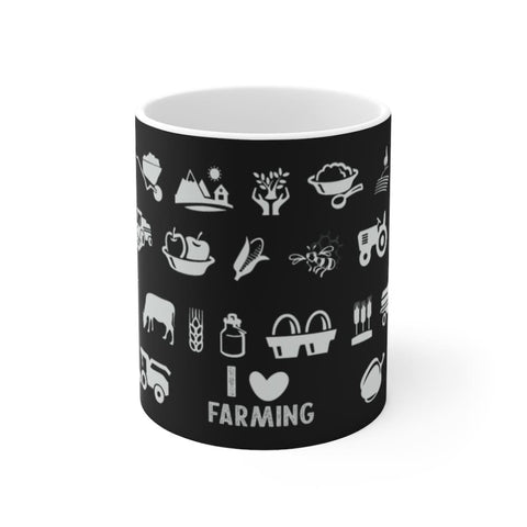 Mug noir I love farming - 11oz - 11 oz - Home & Living -