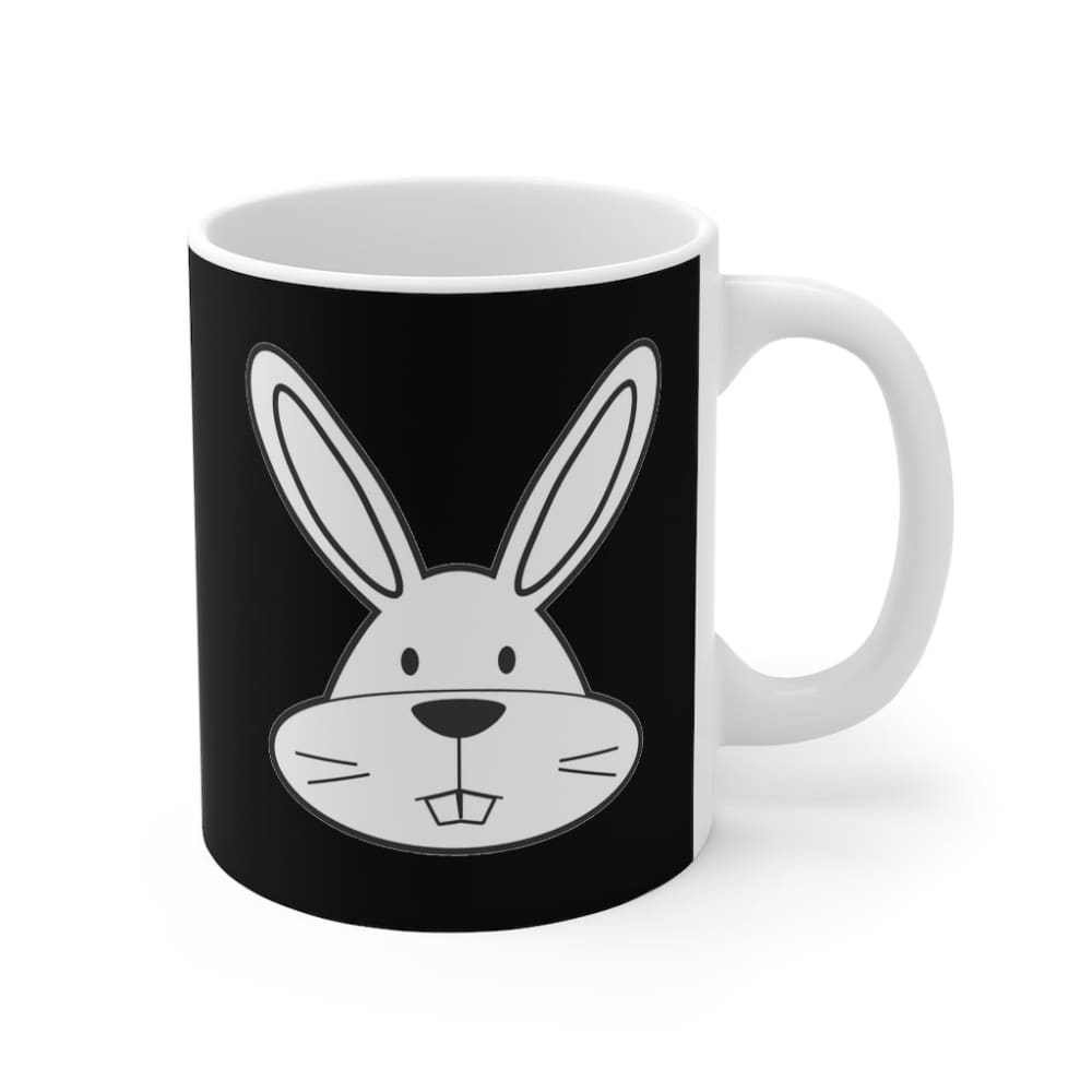 Mug noir lapin cartoon - 11oz - 11 oz - Home & Living - Mugs