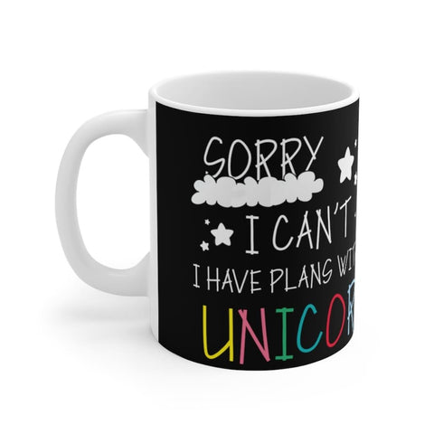 Mug noir sorry I can't I have plans with my unicorn (licorne) - La drôle de ferme