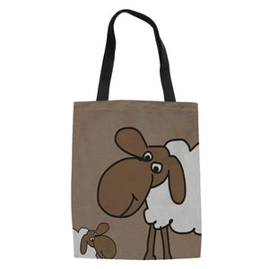Sac à bandoulière mouton cartoon blanc - Marron