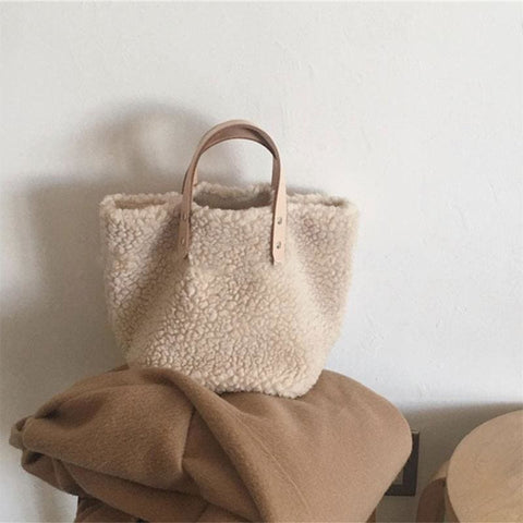 Sac simple style peau de mouton raffiné - 1