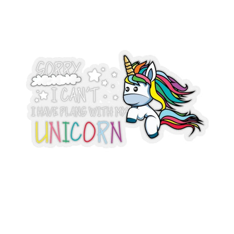 Stickers blanc sorry I can't I have plans with my unicorn (licorne) - La drôle de ferme