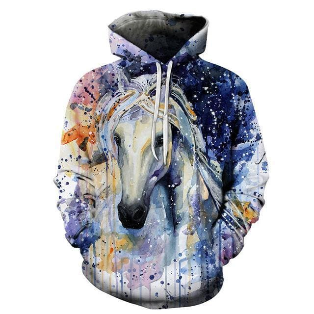 Sweat cheval blanc art moderne 3D - 1 / S