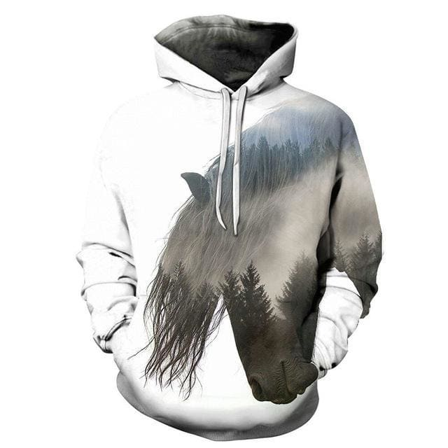 Sweat cheval paysage 3D - Blanc / S