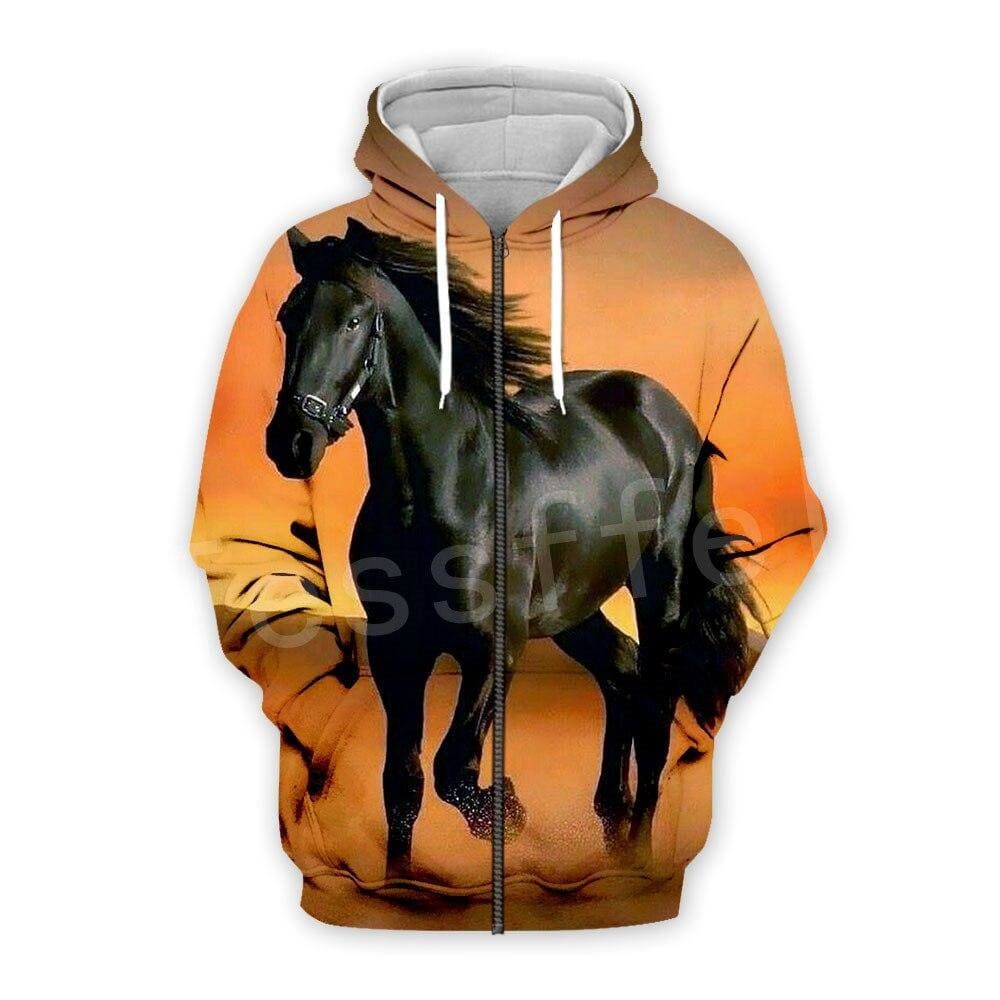 Sweat zip cheval noir impression 3D