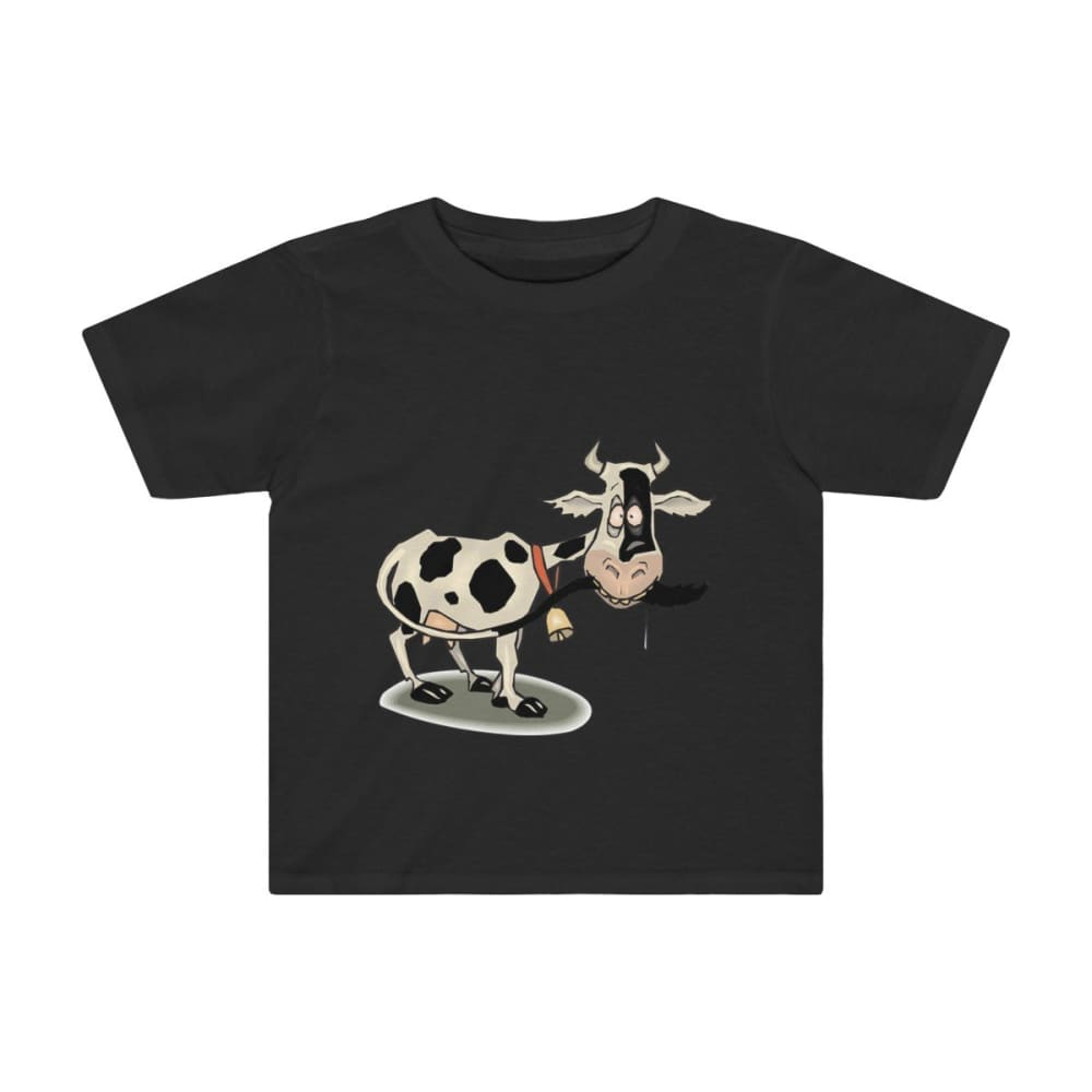 T-shirt enfant vache folle - Black / 2T - Crew neck - DTG -