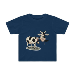 T-shirt enfant vache folle - Navy / 2T - Crew neck - DTG -