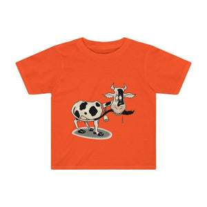 T-shirt enfant vache folle - Orange / 2T - Crew neck - DTG -