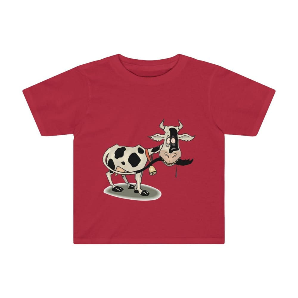 T-shirt enfant vache folle - Red / 2T - Crew neck - DTG -