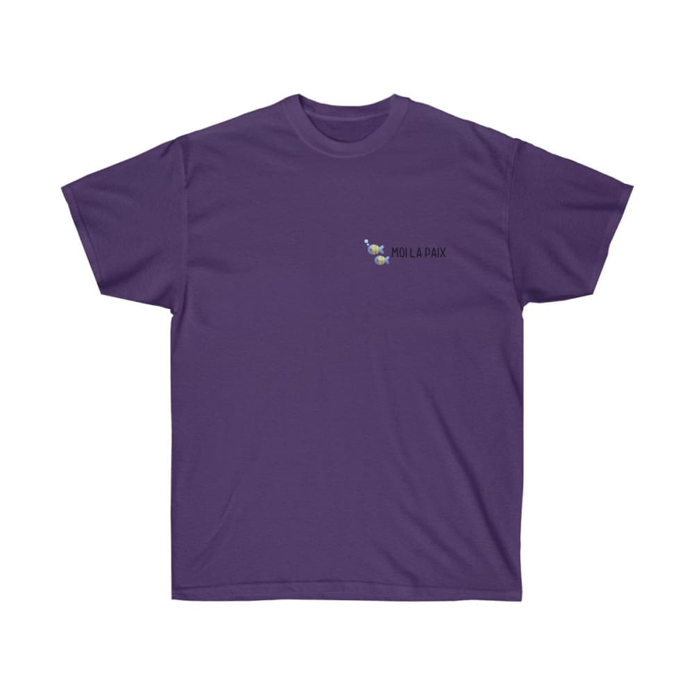 T-shirt Fish-moi la paix logo homme - Purple / S - Crew neck