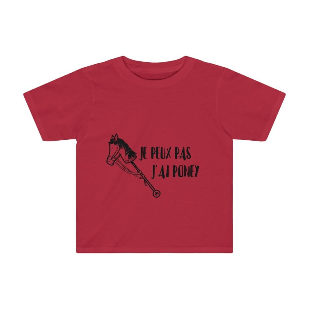 T-shirt je peux pas j'ai poney enfant - Red / 4T - Crew neck