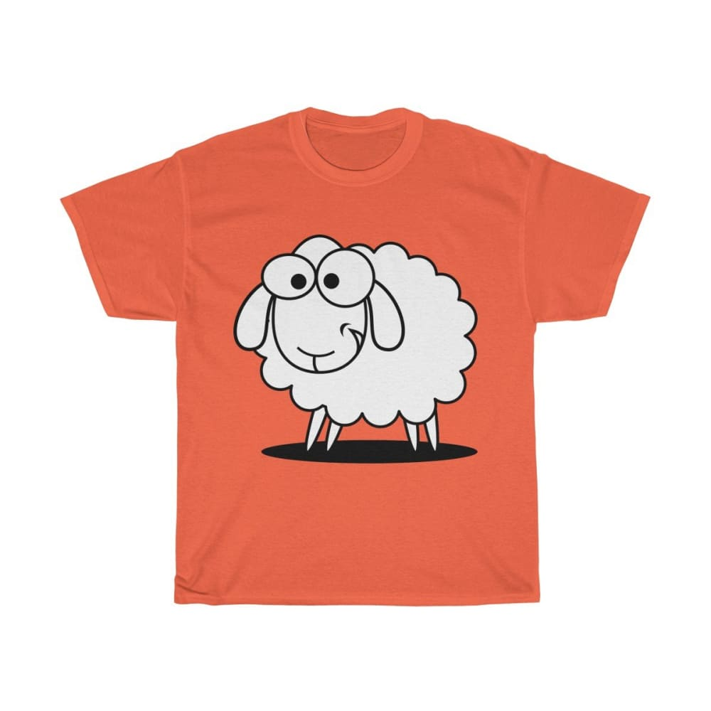T-shirt mouton marrant - Orange / S - Crew neck - DTG -