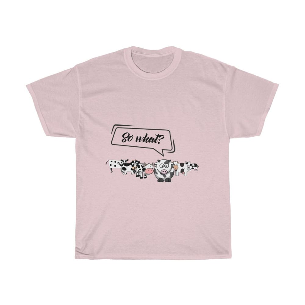 T-shirt so what? vaches - Light Pink / S - Crew neck - DTG -