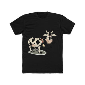 T-shirt unisexe vache folle - Solid Black / L - Crew neck -