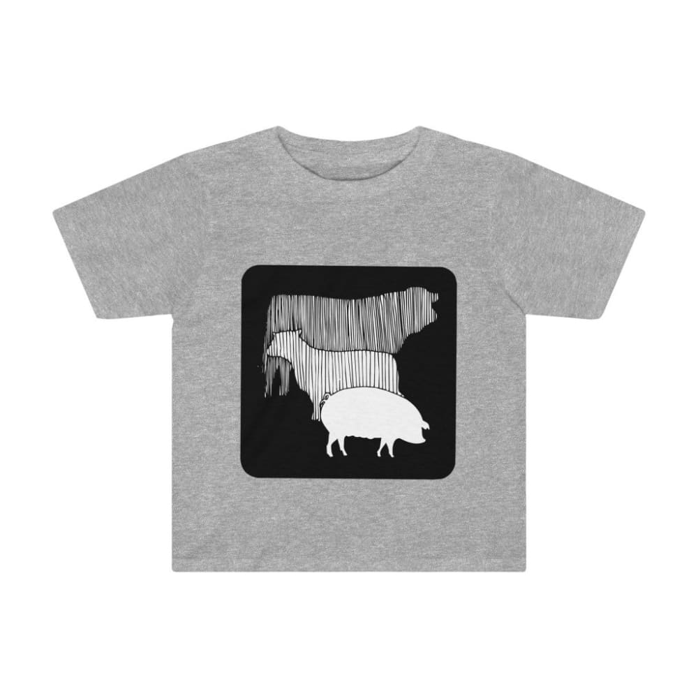 T-shirt vache mouton cochon enfant - Athletic Heather / 2T -