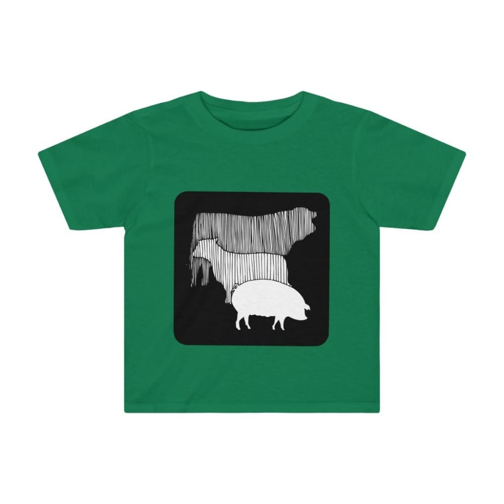 T-shirt vache mouton cochon enfant - Kelly / 2T - Crew neck