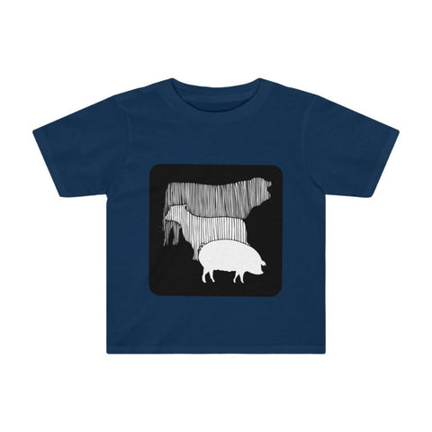 T-shirt vache mouton cochon enfant - Navy / 4T - Crew neck -