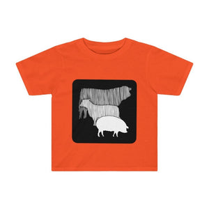 T-shirt vache mouton cochon enfant - Orange / 2T - Crew neck