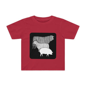 T-shirt vache mouton cochon enfant - Red / 2T - Crew neck -
