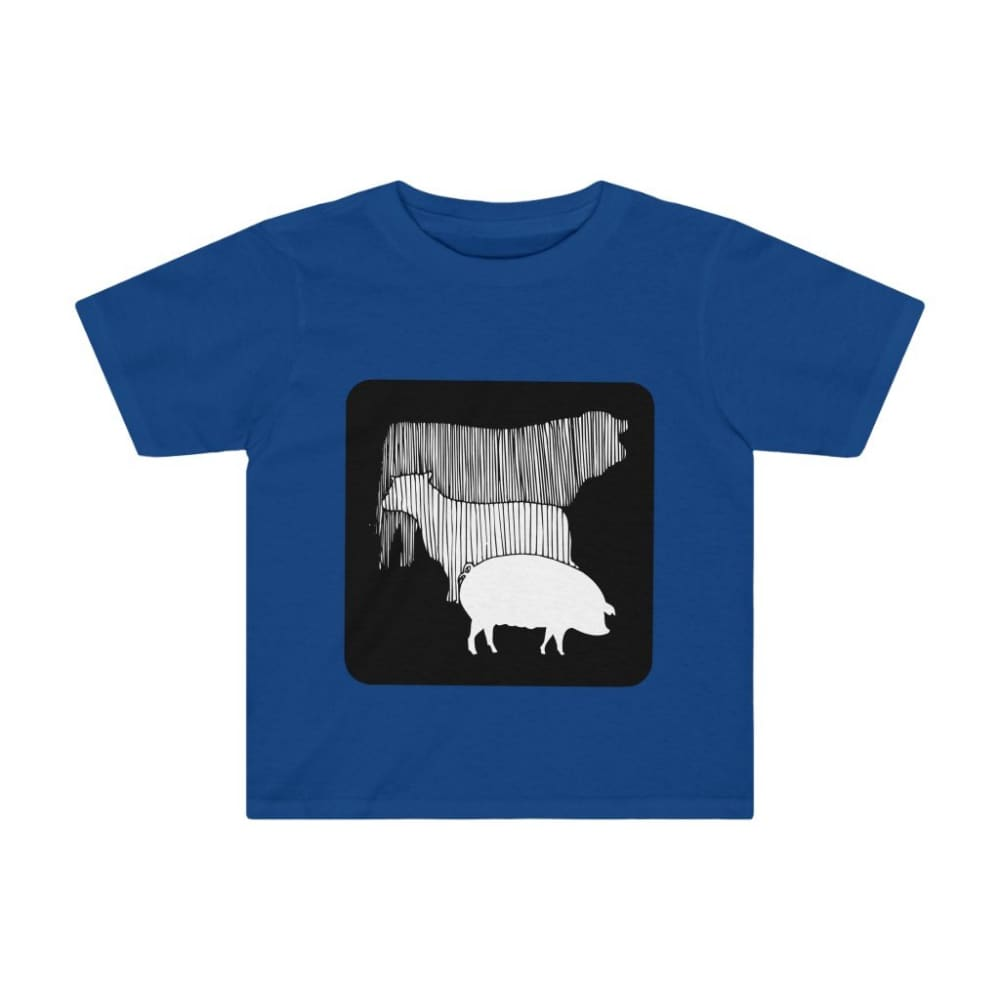 T-shirt vache mouton cochon enfant - Royal / 2T - Crew neck