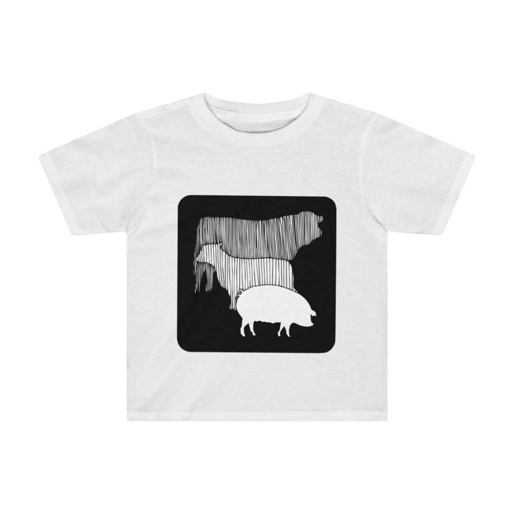 T-shirt vache mouton cochon enfant - White / 2T - Crew neck