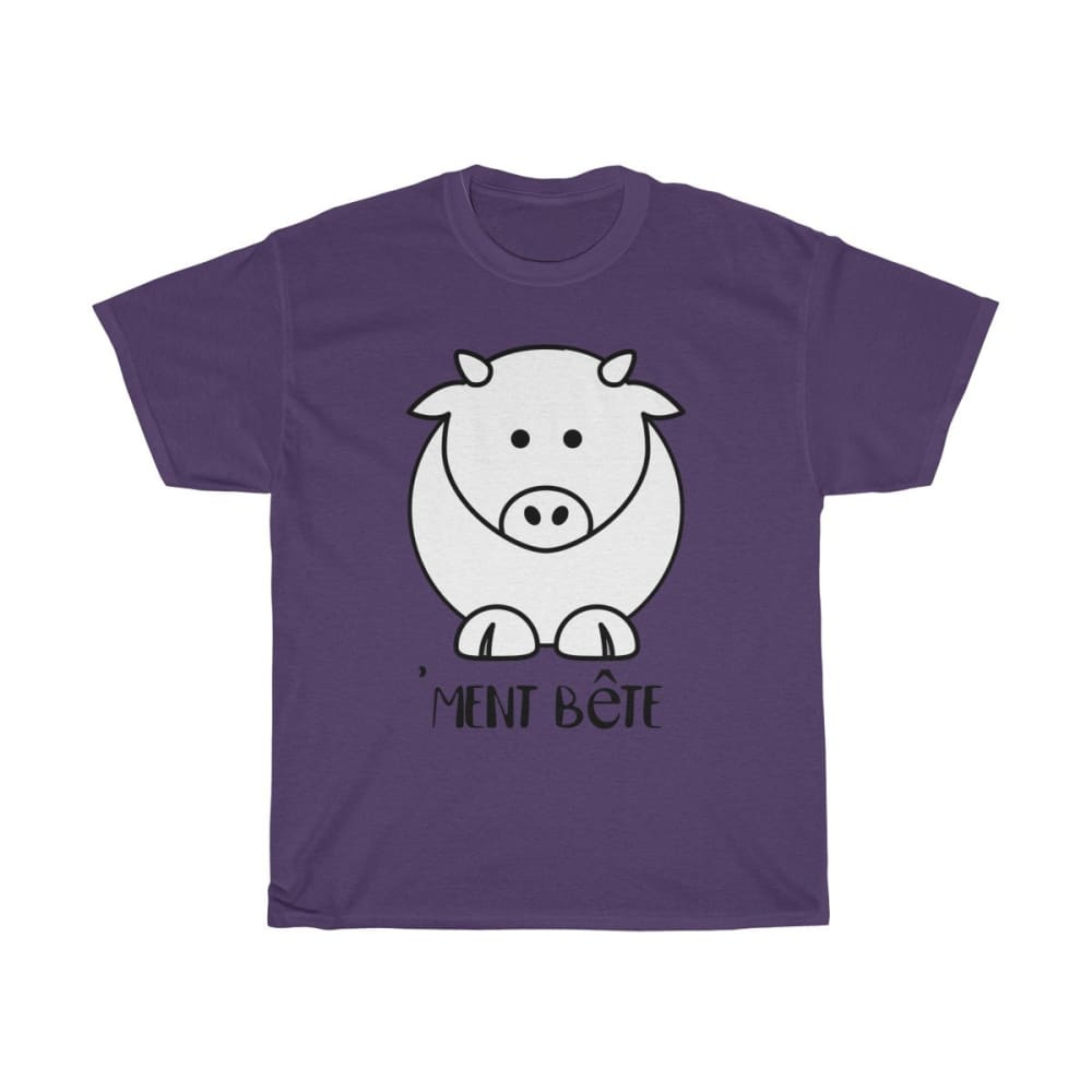T-shirt vachement bête - Purple / S - Crew neck - DTG -