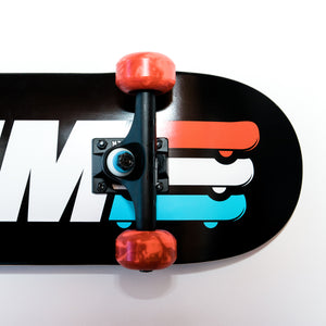 Skate Gym Complete Skateboard Rental Black Trucks Closeup