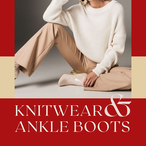 Lady in knitwear and wide leg trousers with ankle boots