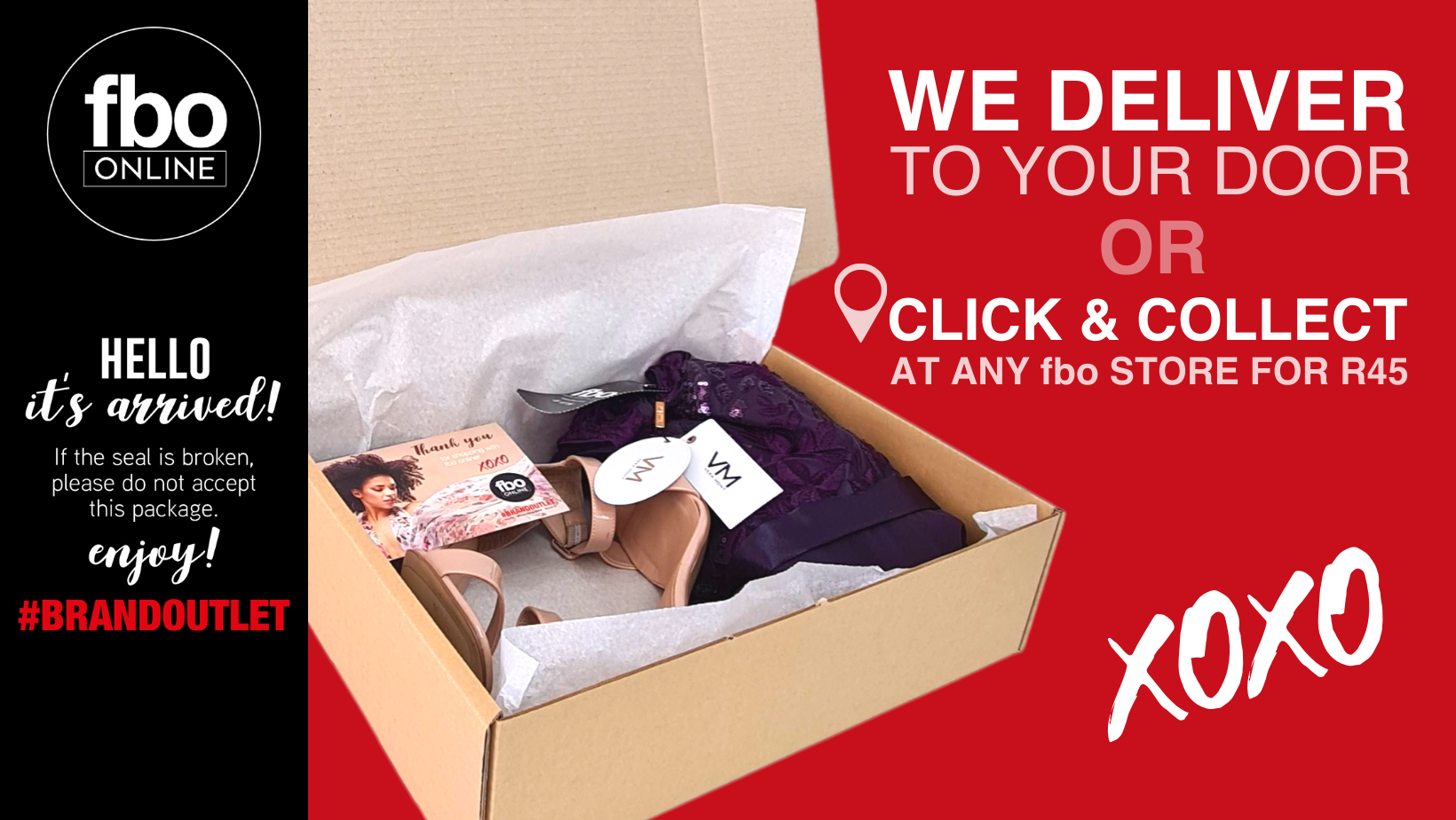 fbo online order delivery with fashion garments in the box. fbo offers click and collect at R45. Delivery nationwide to anywhere in South Africa