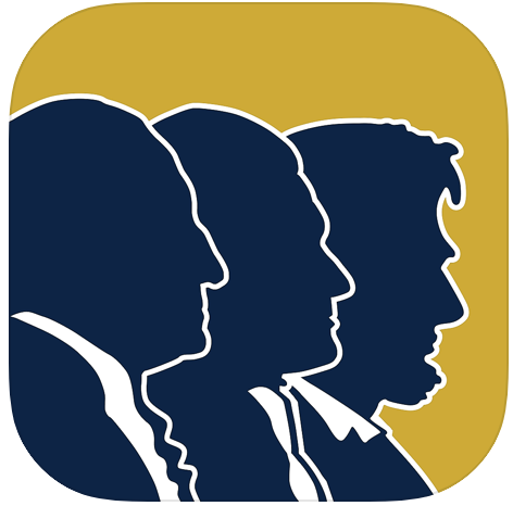 Common Sense Coffee mobile app icon depicting George Washington, Abraham Lincoln, and Thomas Jefferson.