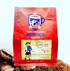 The promotional photo of the RAH Coffee Company's 1776 Dark Roast. The 1776 Dark Roast is a single origin coffee made in partnership with Common Sense Coffee that seeks to support the work of USMC Veteran, model, and entrepreneur Dawn Jenn.