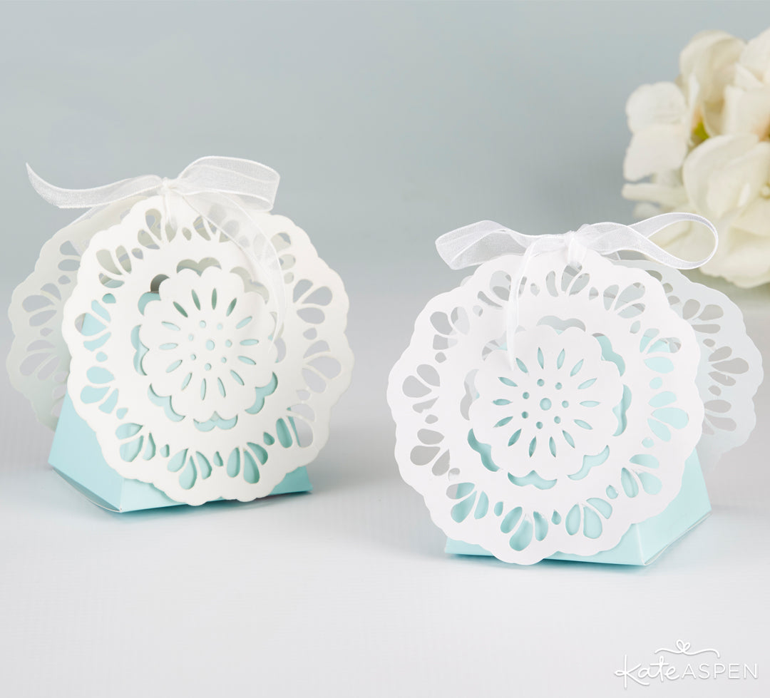 Something Blue Lace Favor Boxes | Gifts and Decor For a Something Blue Bridal Shower | Kate Aspen