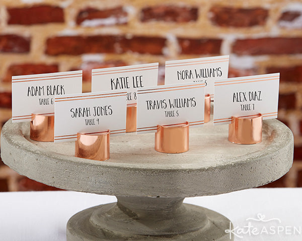 Copper Pipe PLace Card Holders | Insustrial Wedding Decor from Kate Aspen