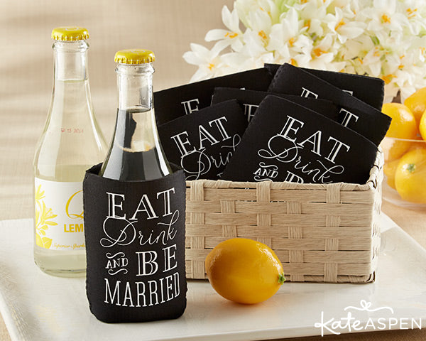 """Eat, Drink & Be Married"" Collapsible Insulated Can Holder (Set of 12) 