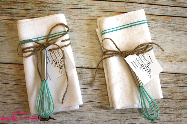 Adorable tea towel favors on the Kate Aspen Blog | DIY Kitchen Bridal Shower Whisk and Towel Favors
