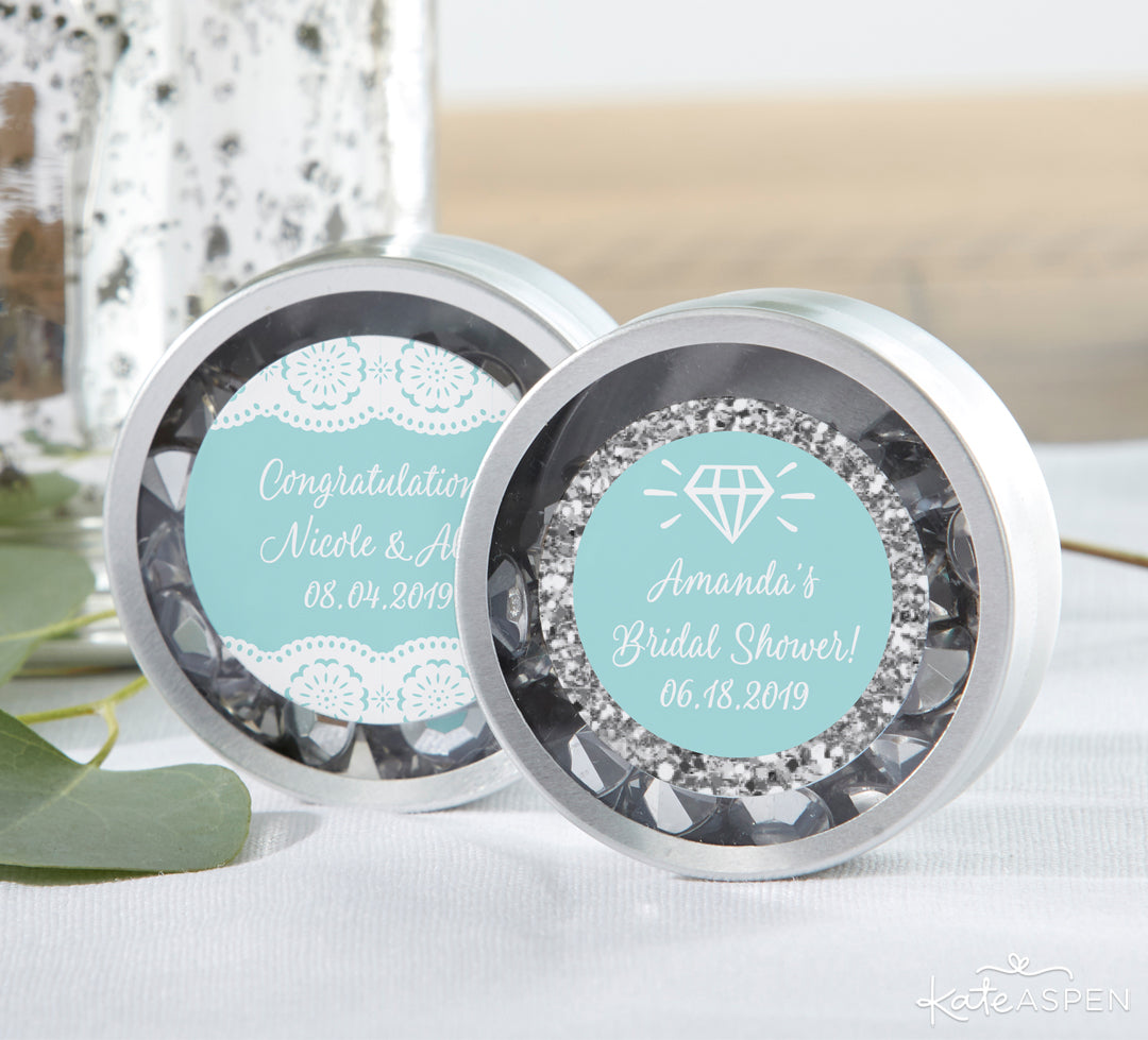 Personalized Something Blue Candy Tins | Gifts and Decor For a Something Blue Bridal Shower | Kate Aspen