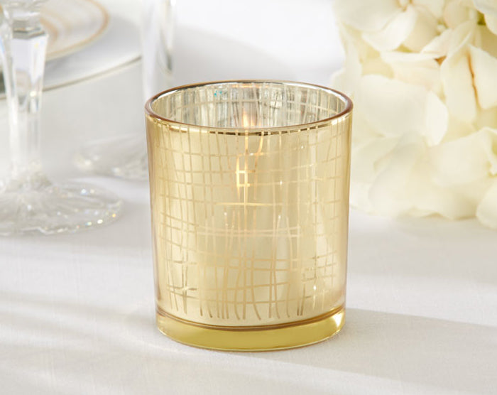 Gold Stripe Tealight Holder by Kate Aspen
