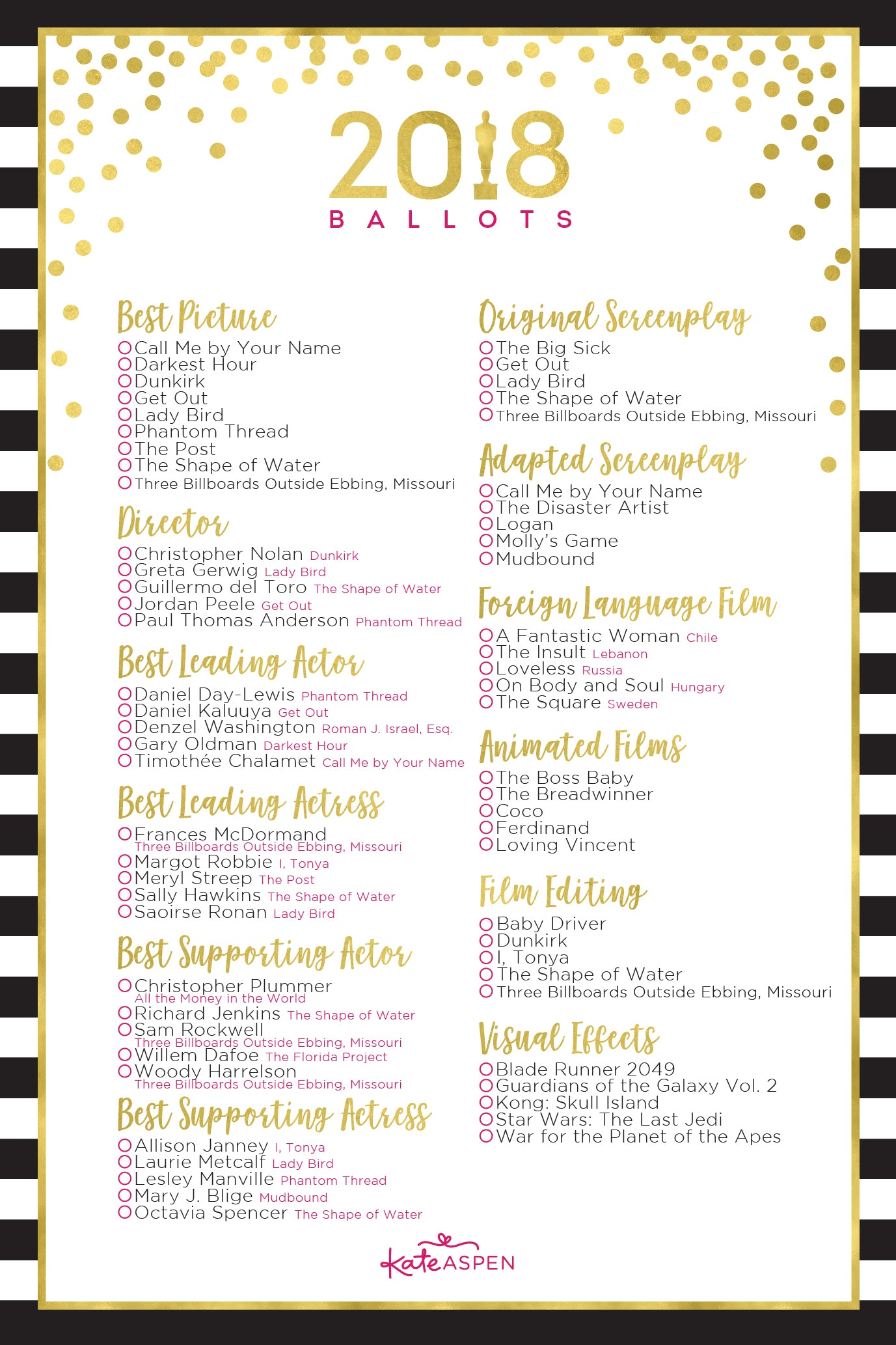 2018 Oscar Ballot Printable | How to Host an Award-Winning Viewing Party | Kate Aspen